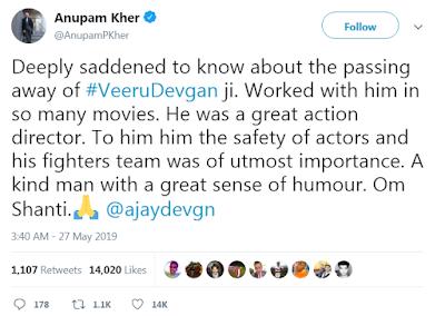 Anupam Kher tweet about veeru devgan death