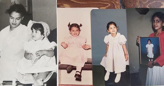 Kubra Sait Childhood pic with mother