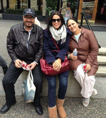 Neha Dhupia with her parents
