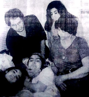 Richa Sharma with her family at the hospital due to cancer