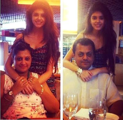 Sanjana with her parents