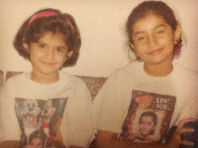 Deeksha Seth childhood photo with her sister Sagun Seth